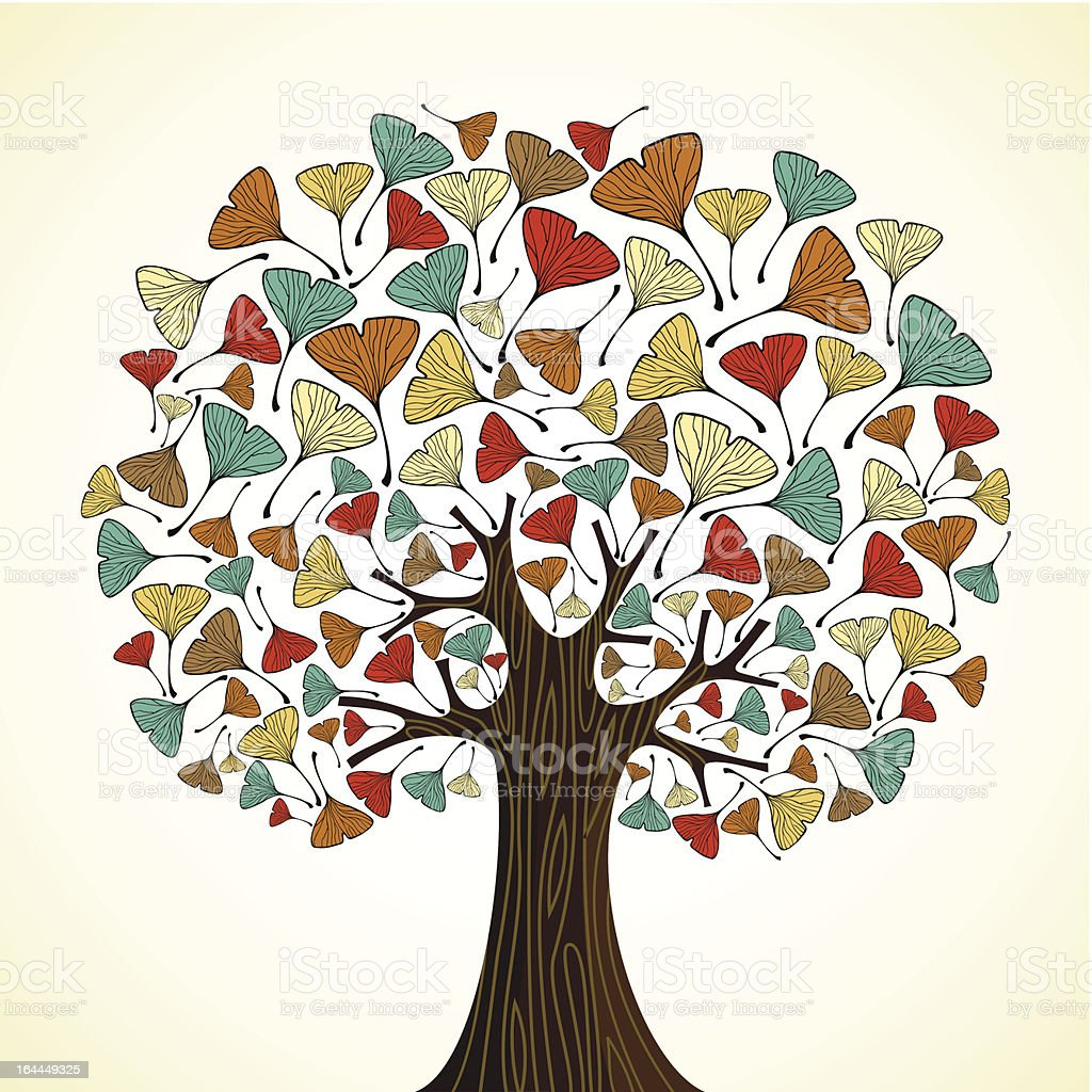 Ginkgo leaf in tree composition vector art illustration