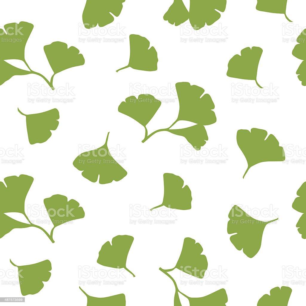 Ginkgo Leaves Seamless Background Vector vector art illustration