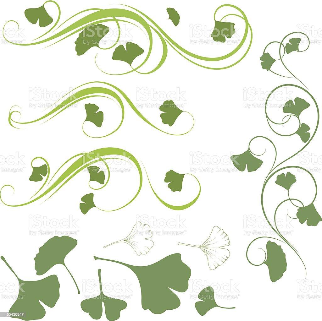 Ginkgo ornament vector art illustration