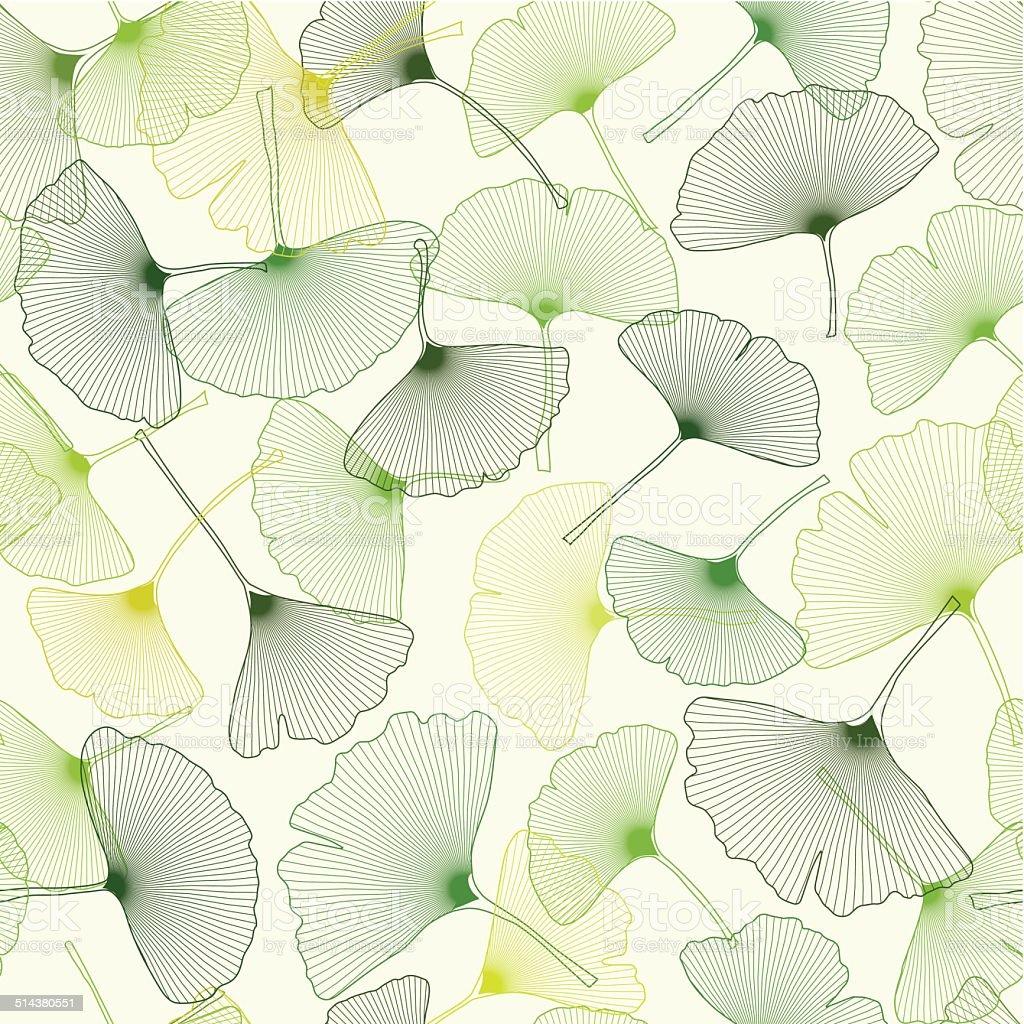 ginkgo seamless pattern vector art illustration