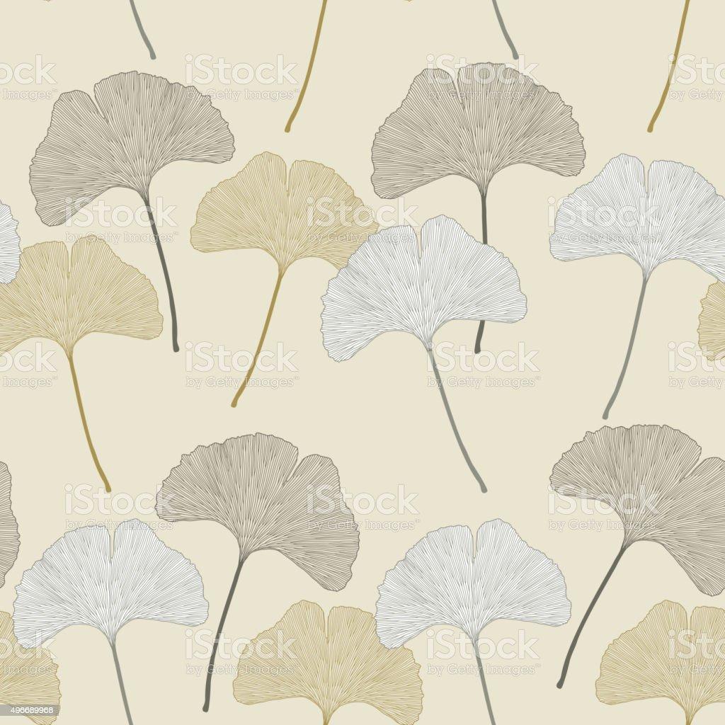 Ginko leaves floral imprint ornament vector art illustration