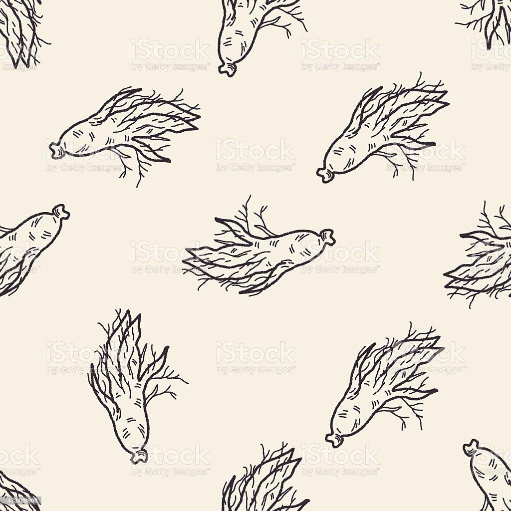 Ginseng doodle seamless pattern background vector art illustration