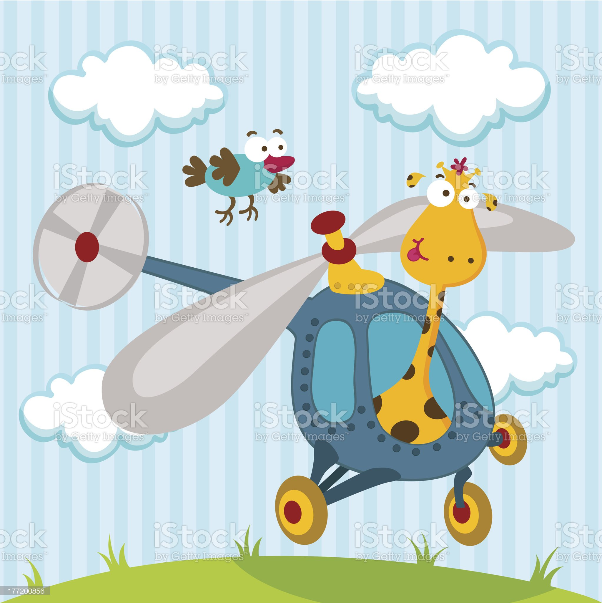 giraffe and bird on a helicopter royalty-free stock vector art