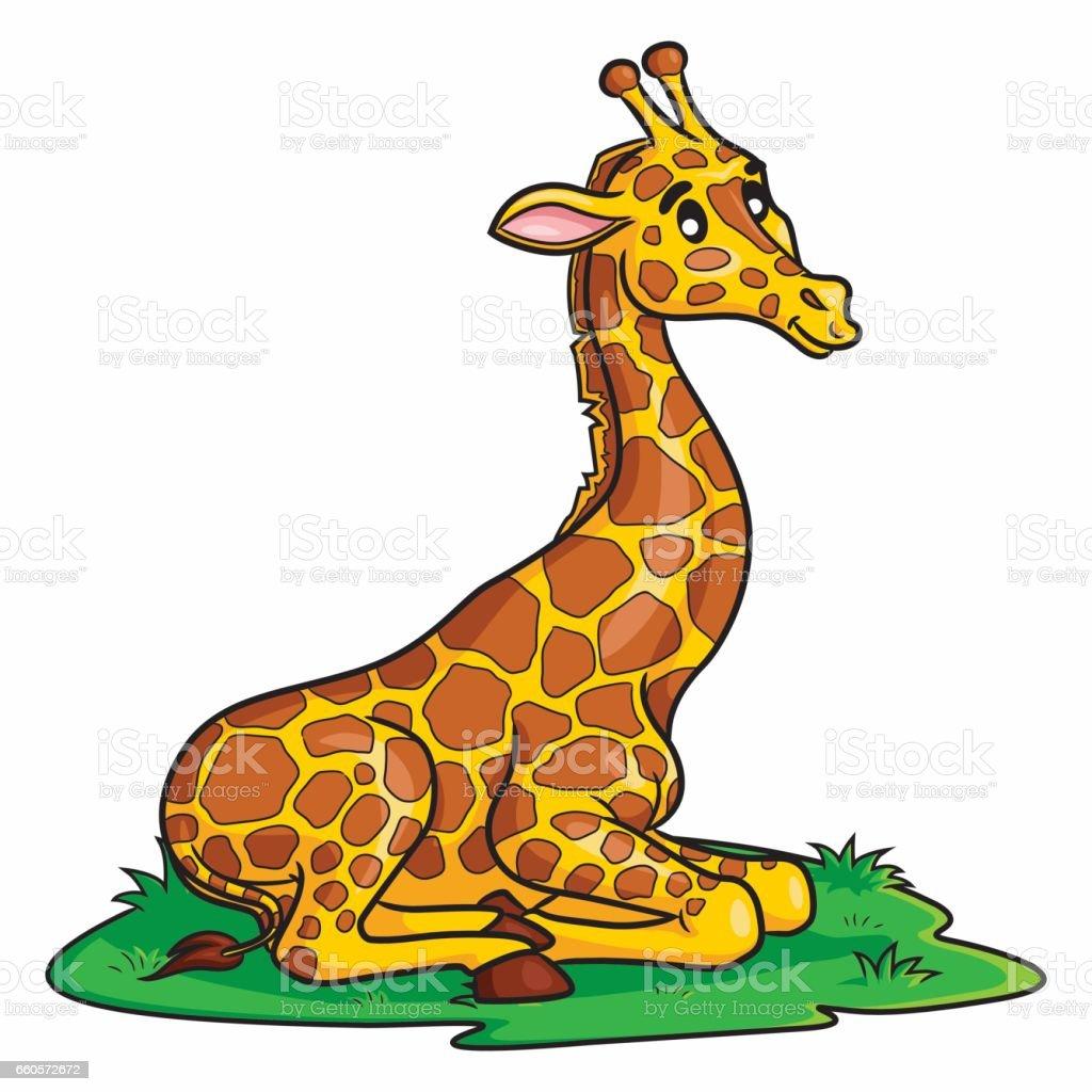 Giraffe Cute Cartoon vector art illustration