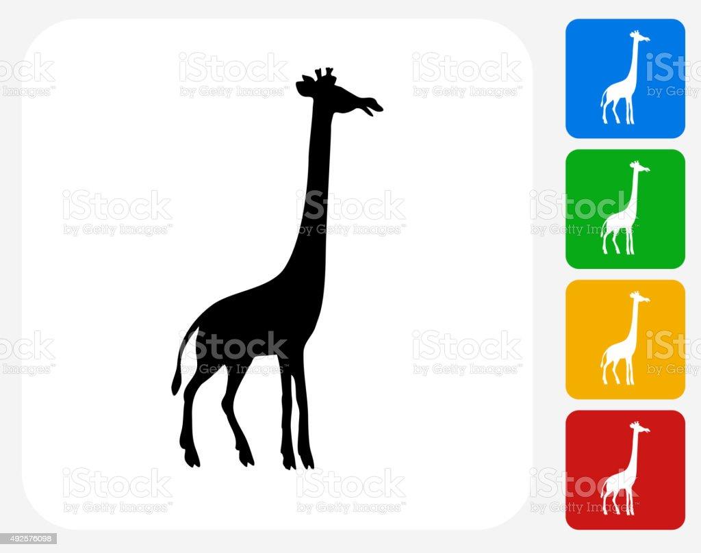 Giraffe Icon Flat Graphic Design vector art illustration