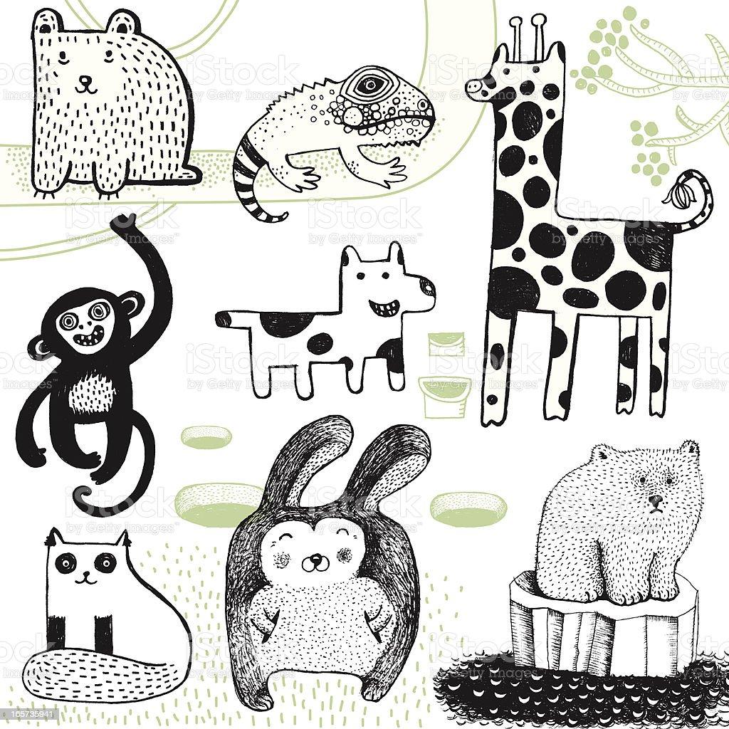 Giraffe, rabbit, polar bear, monkey, dog, bear and chameleon. royalty-free stock vector art