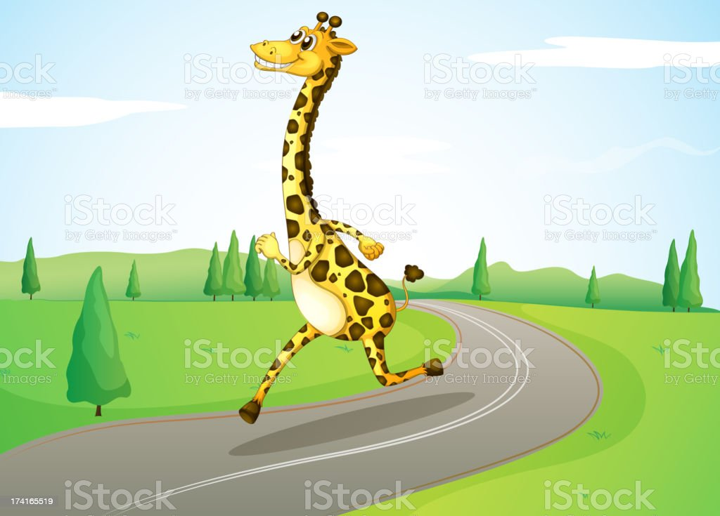 giraffe running along the road royalty-free stock vector art