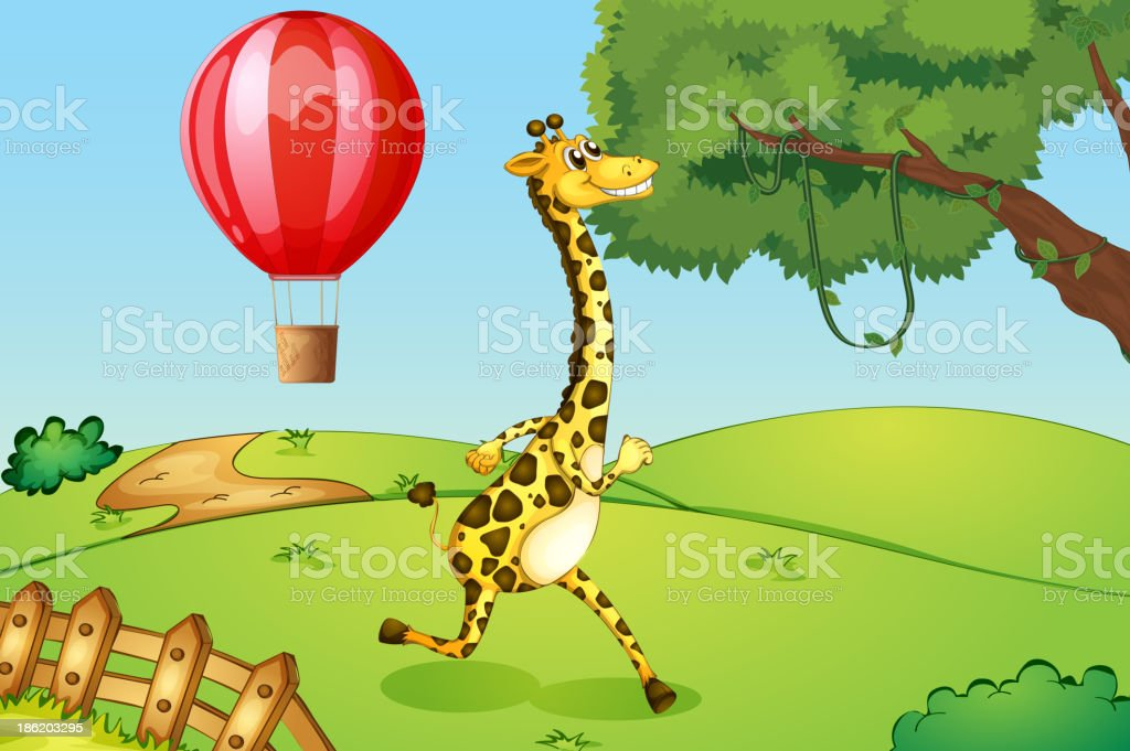 giraffe running and a floating hot air balloon royalty-free stock vector art
