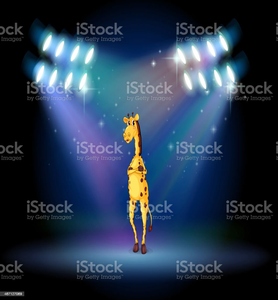 giraffe standing in the middle of stage royalty-free stock vector art