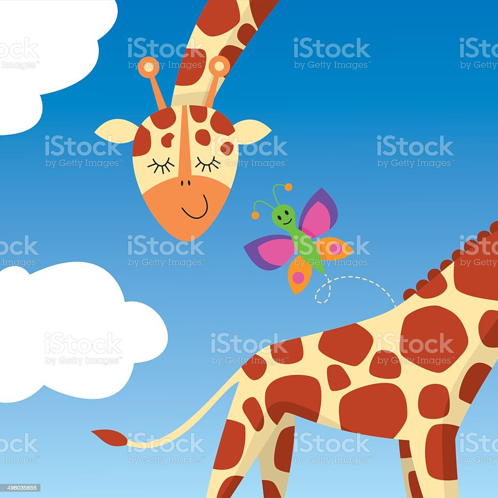 Giraffe with butterfly royalty-free stock vector art