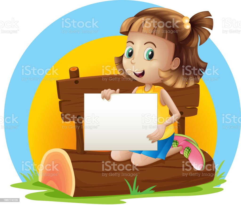girl above a log holding an empty signage royalty-free stock vector art