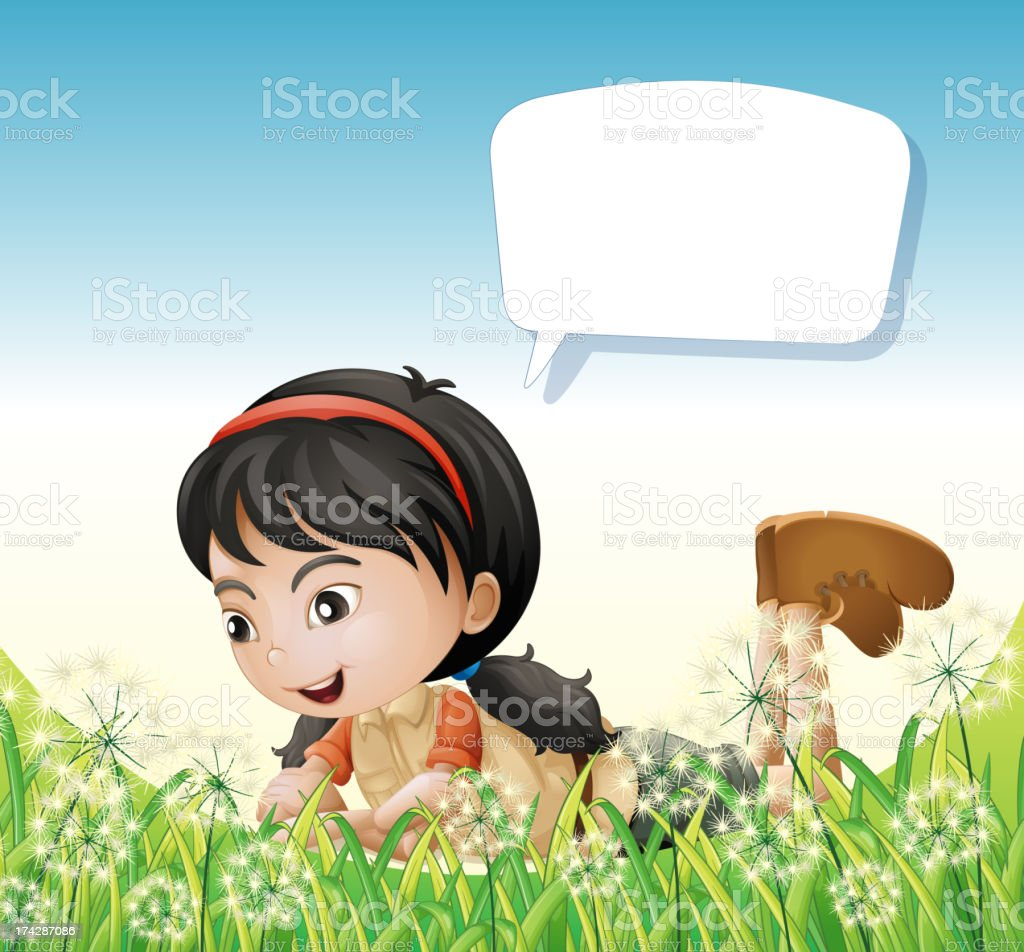 Girl above the hills with an empty callout royalty-free stock vector art