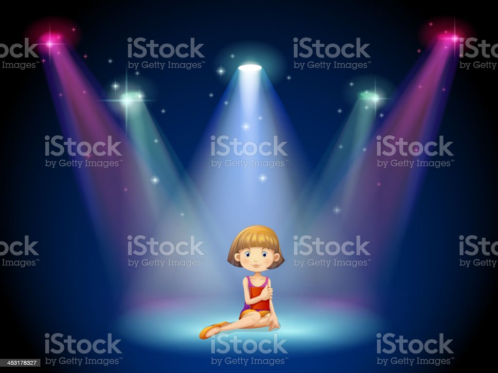 girl acting on the stage with spotlights royalty-free stock vector art