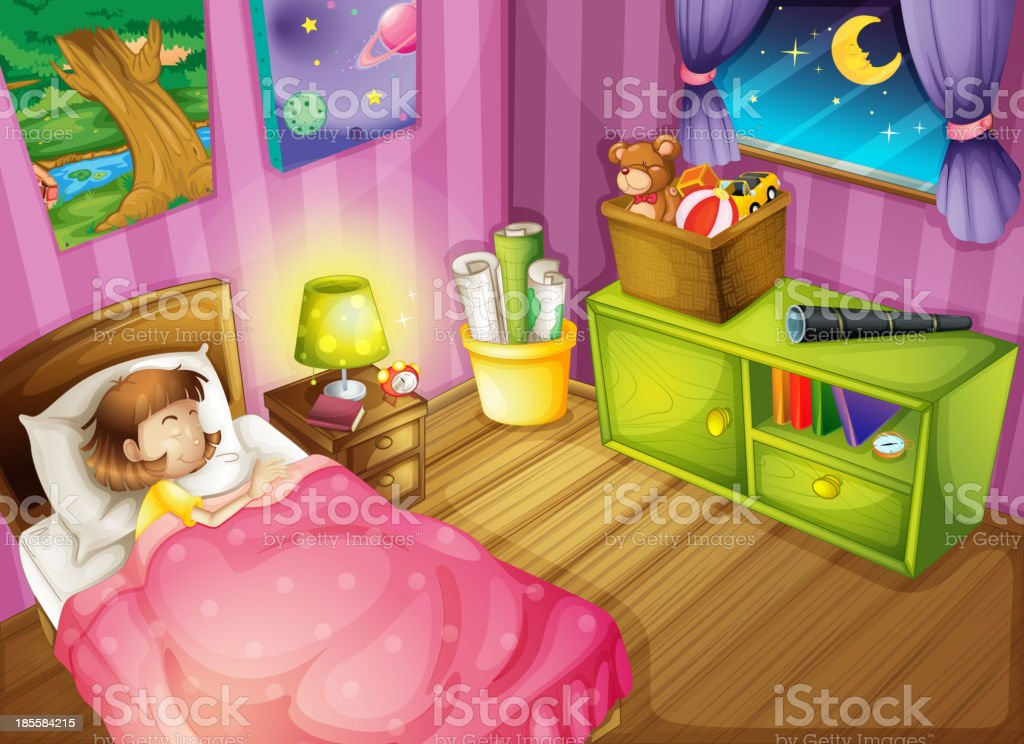 girl and a bedroom royalty-free stock vector art