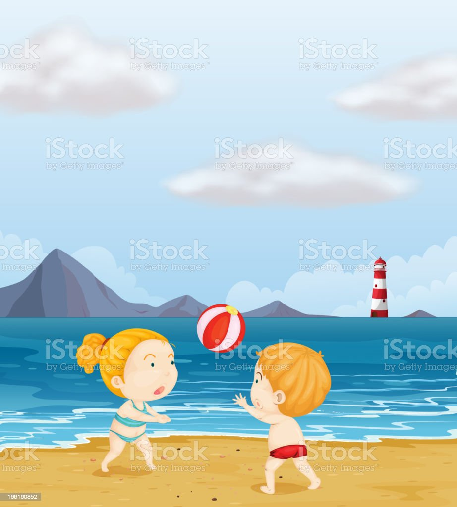Girl and a boy playing volleyball at the beach royalty-free stock vector art