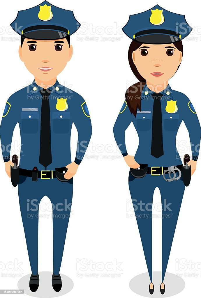 girl and a guy cop. In the flat style vector art illustration