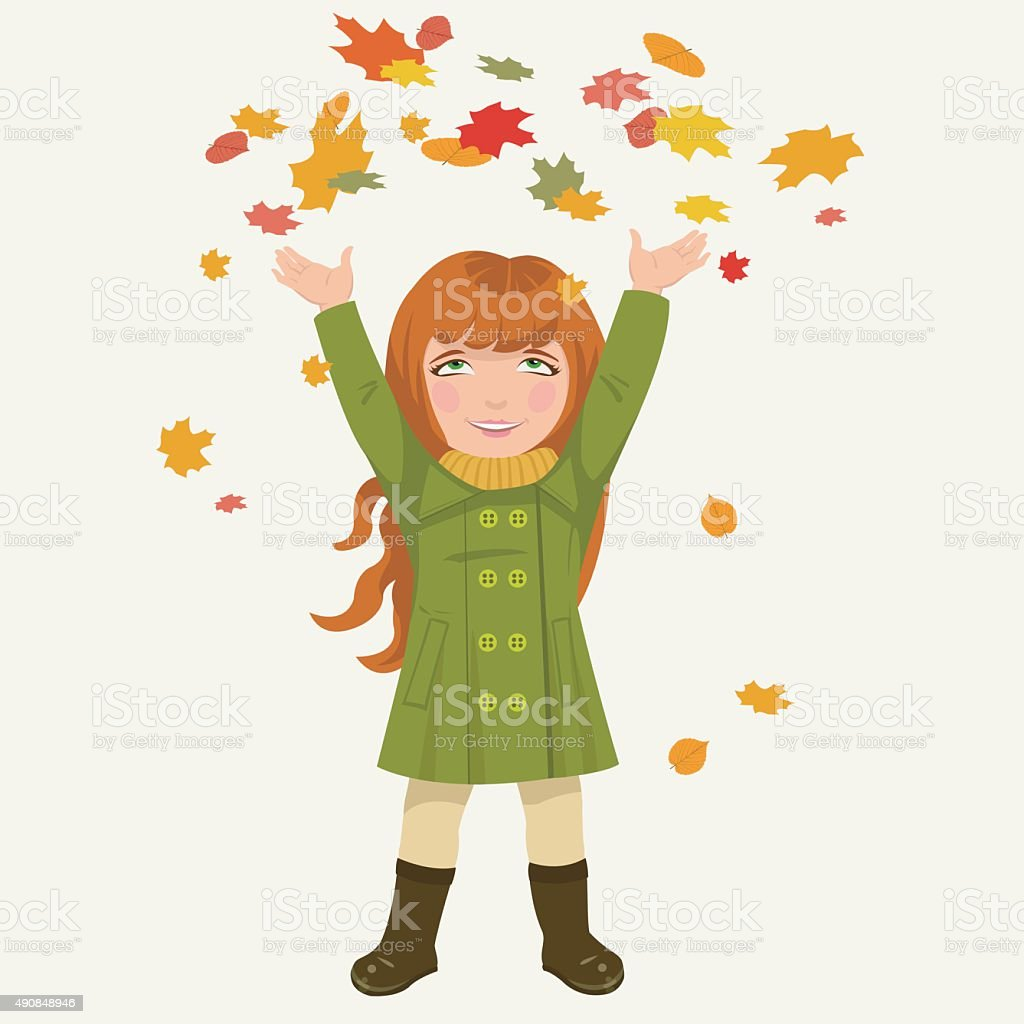 girl and autumnal leaves royalty-free stock vector art