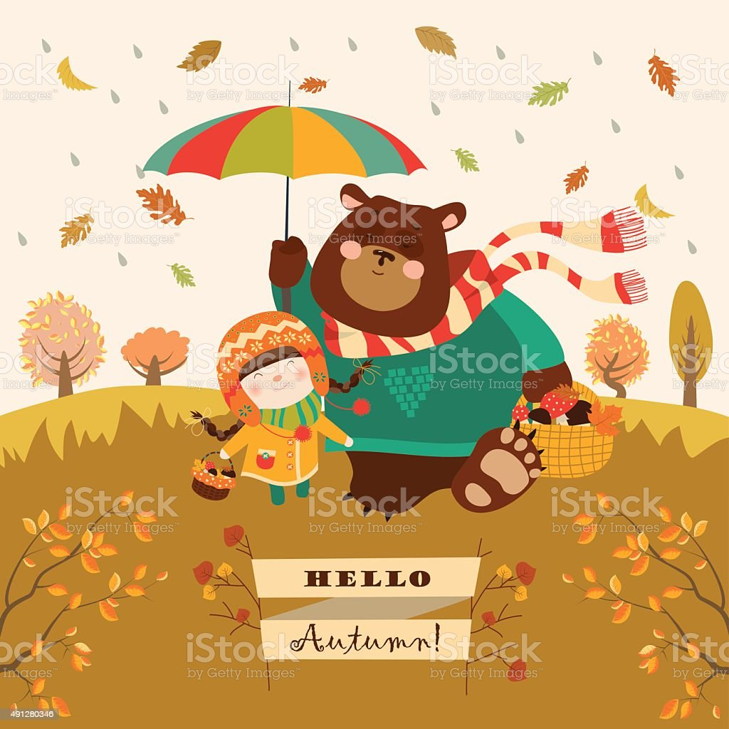 Girl and bear walking under an umbrella in the forest vector art illustration