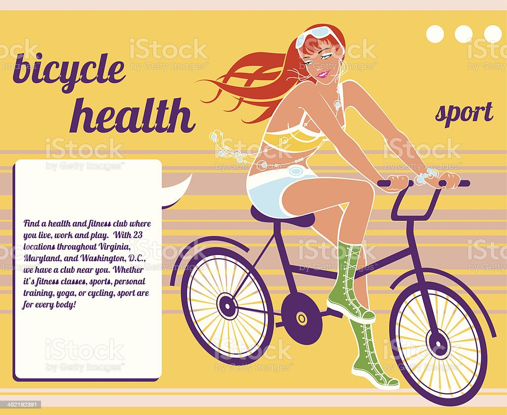 girl and bicycle vector art illustration