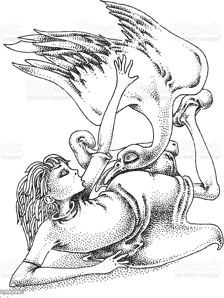 Girl and bird vector art illustration