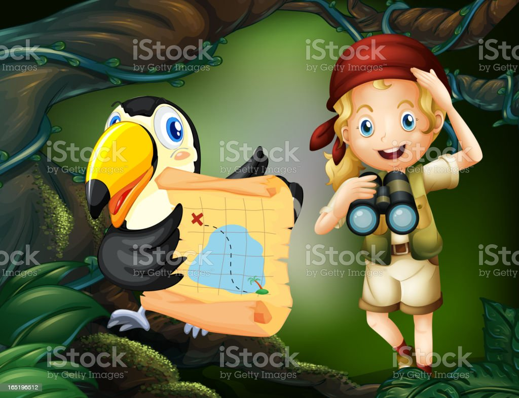 Girl and bird with map royalty-free stock vector art