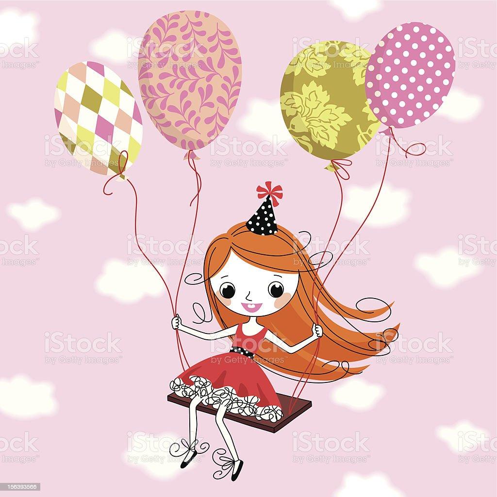 Girl and Birthday Balloons. royalty-free stock vector art