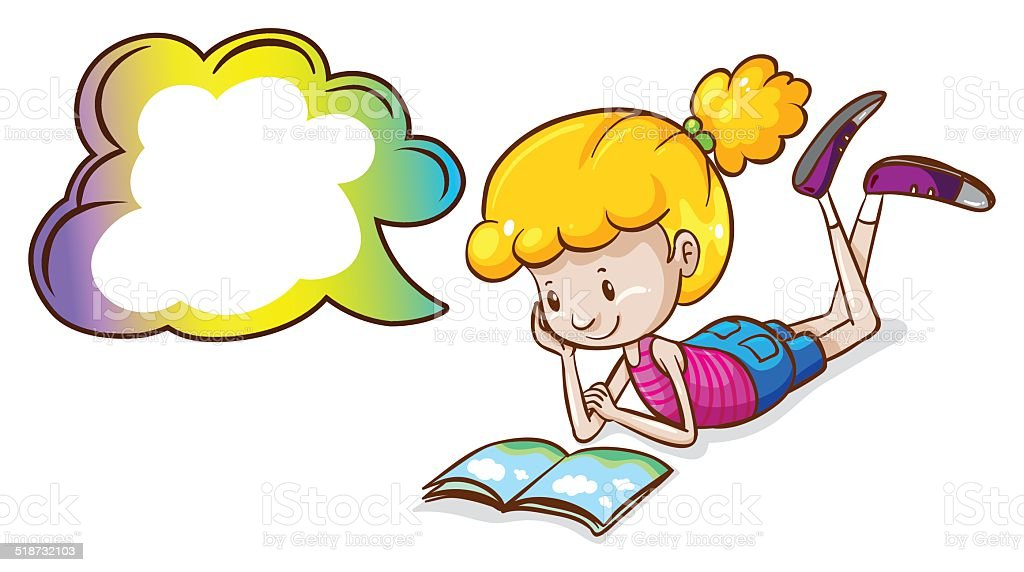 Girl and book vector art illustration