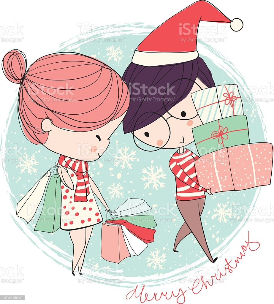 Girl and boy. Christmas card. royalty-free stock vector art