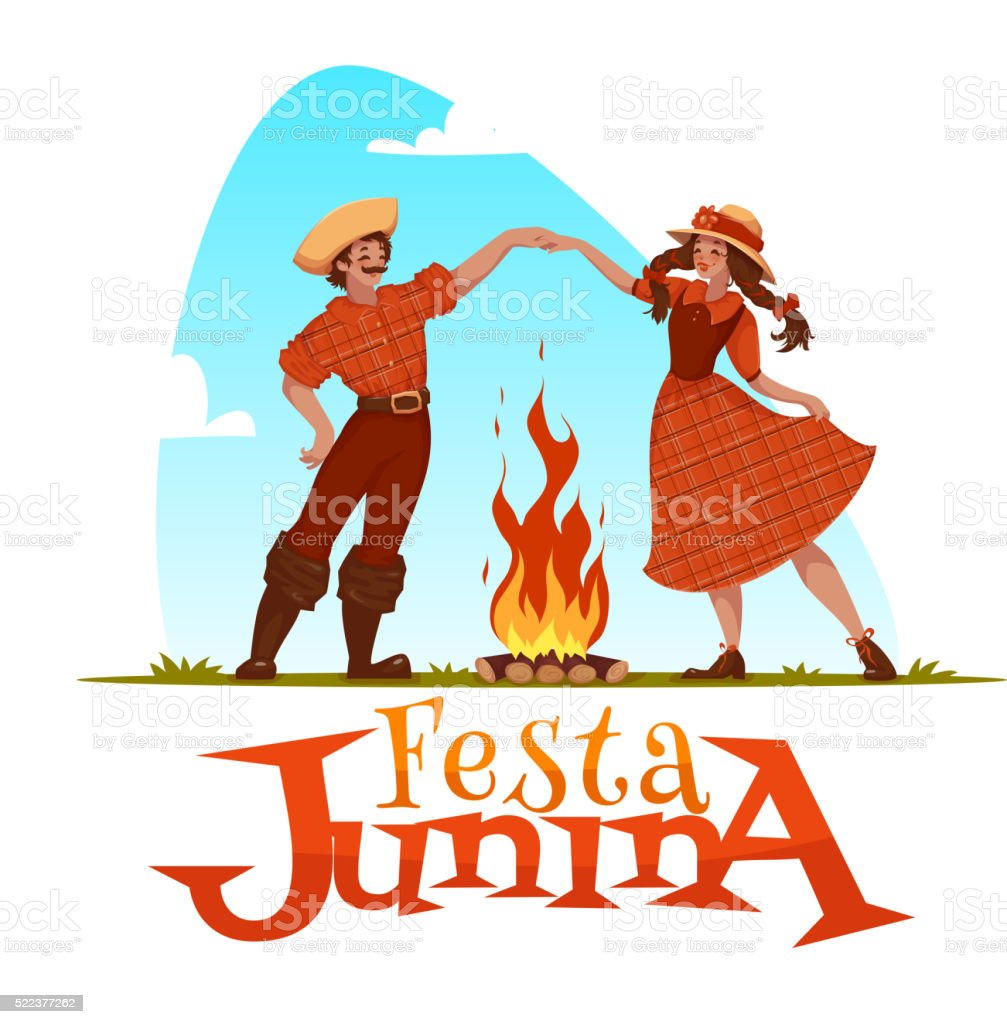 Girl and boy dancing at Brazilian Festa Junina Party. Vector vector art illustration