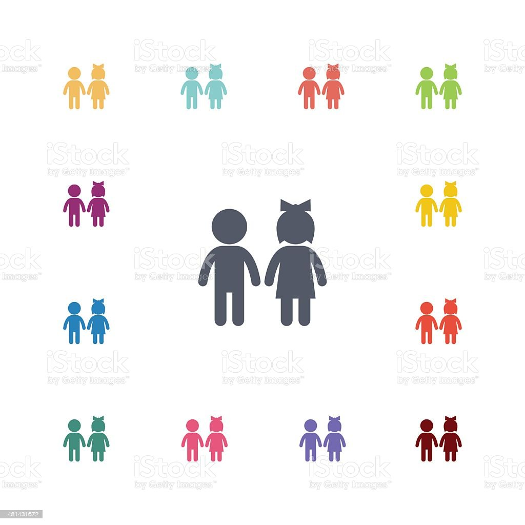 girl and boy flat icons set vector art illustration