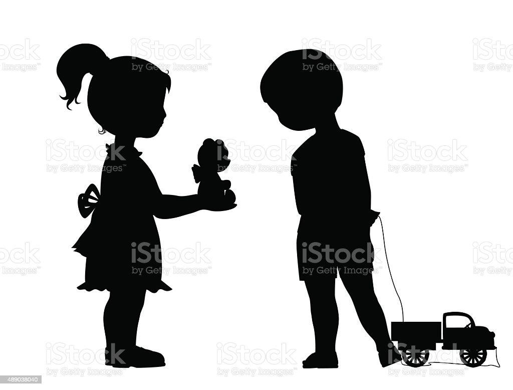 Girl and boy friendship vector art illustration