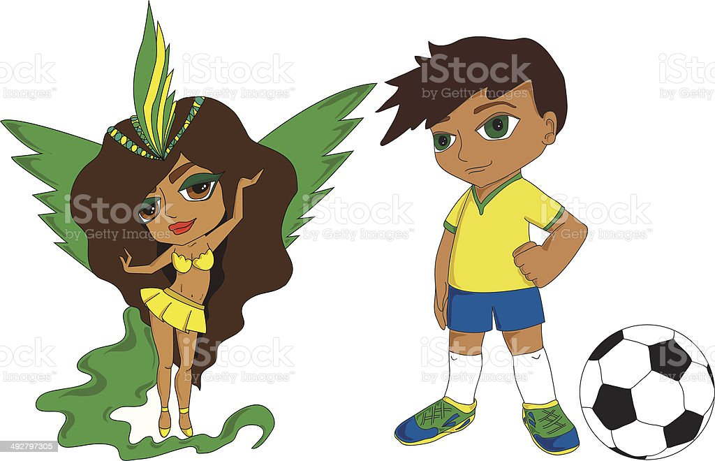 girl and boy from Brazil royalty-free stock vector art