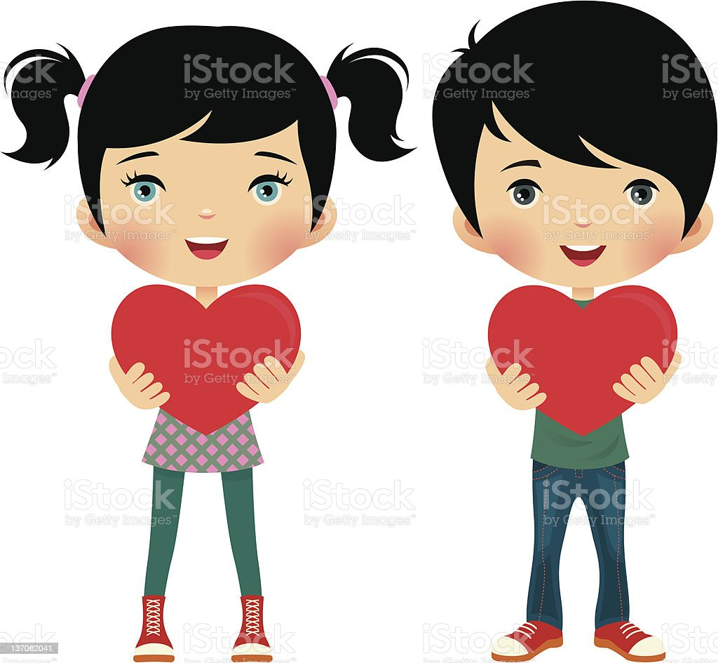 Girl and boy give valentine royalty-free stock vector art