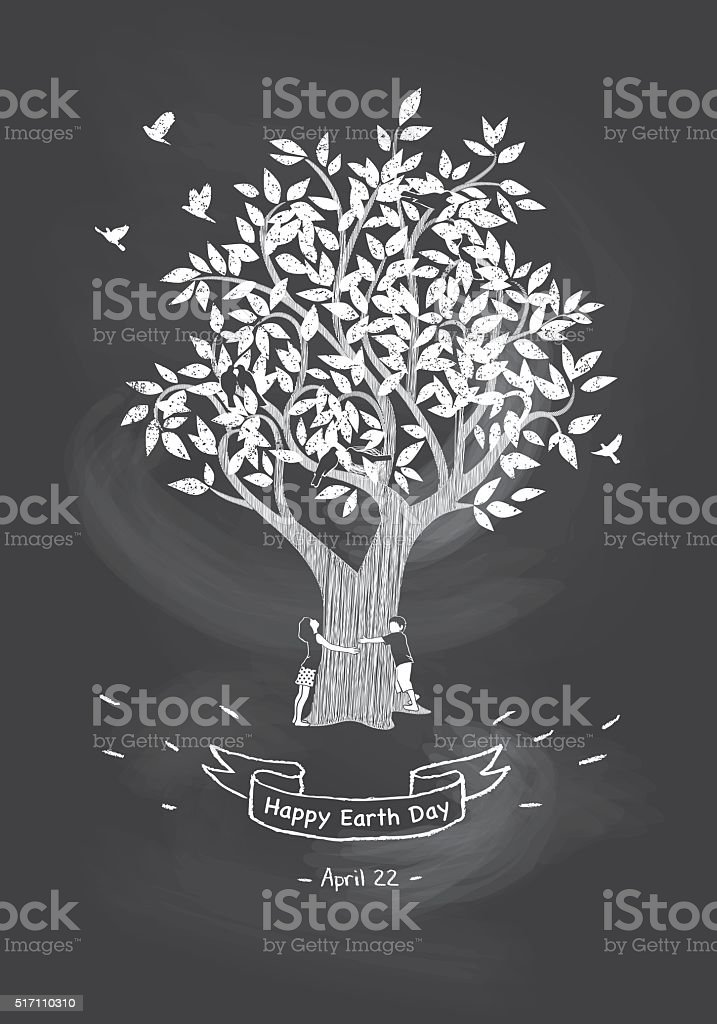 Girl And Boy Hugging Tree On Chalkboard Background vector art illustration