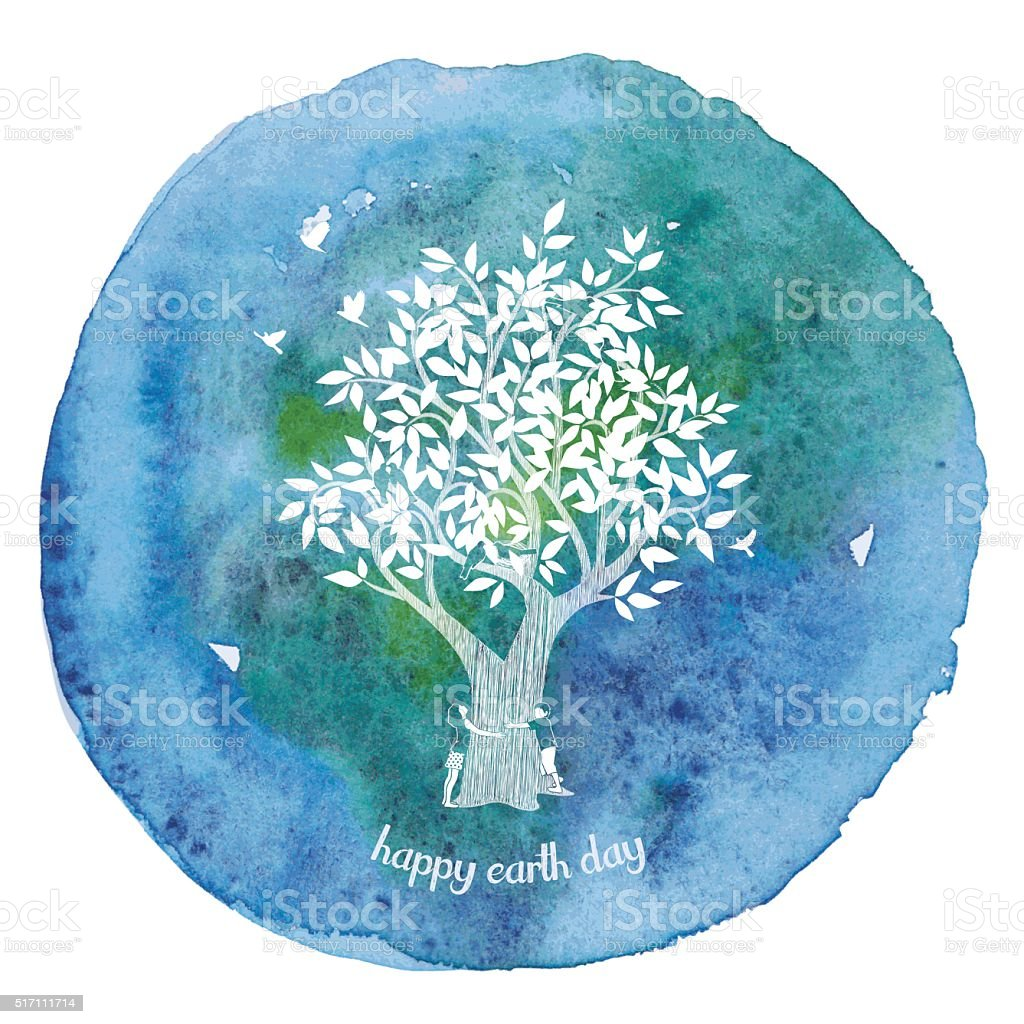 Girl And Boy Hugging Tree On Watercolor Paint Circle vector art illustration