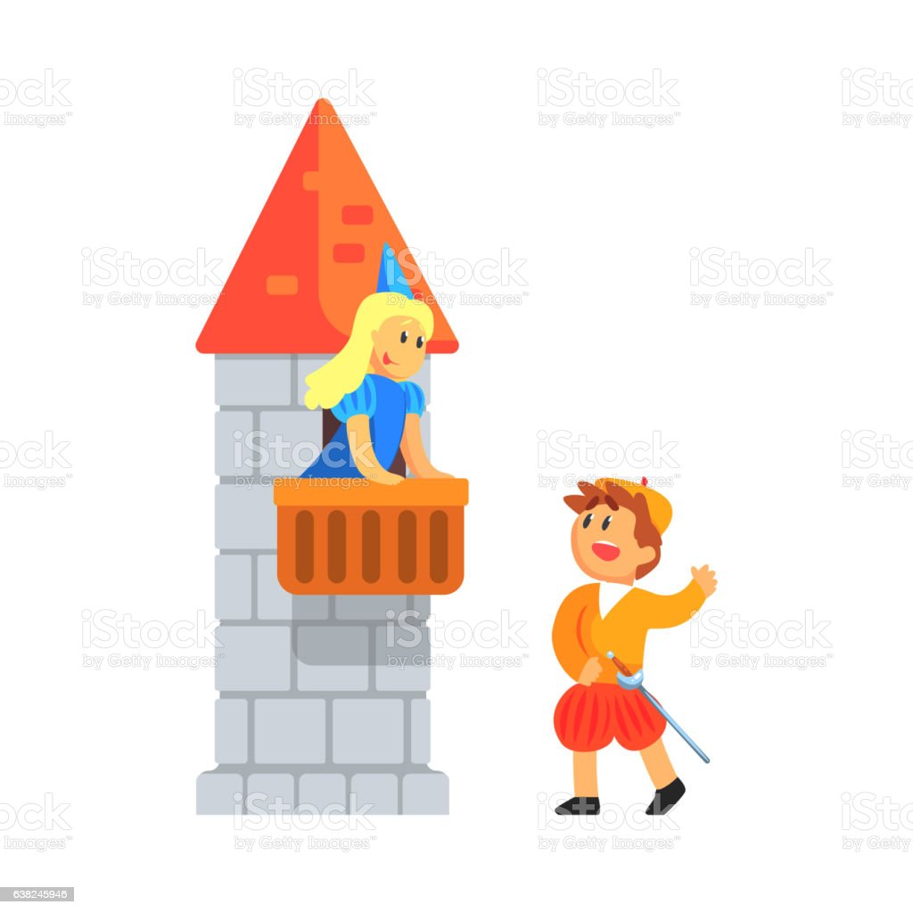 Girl And Boy In Medieval Outfits Playing Parts Of vector art illustration