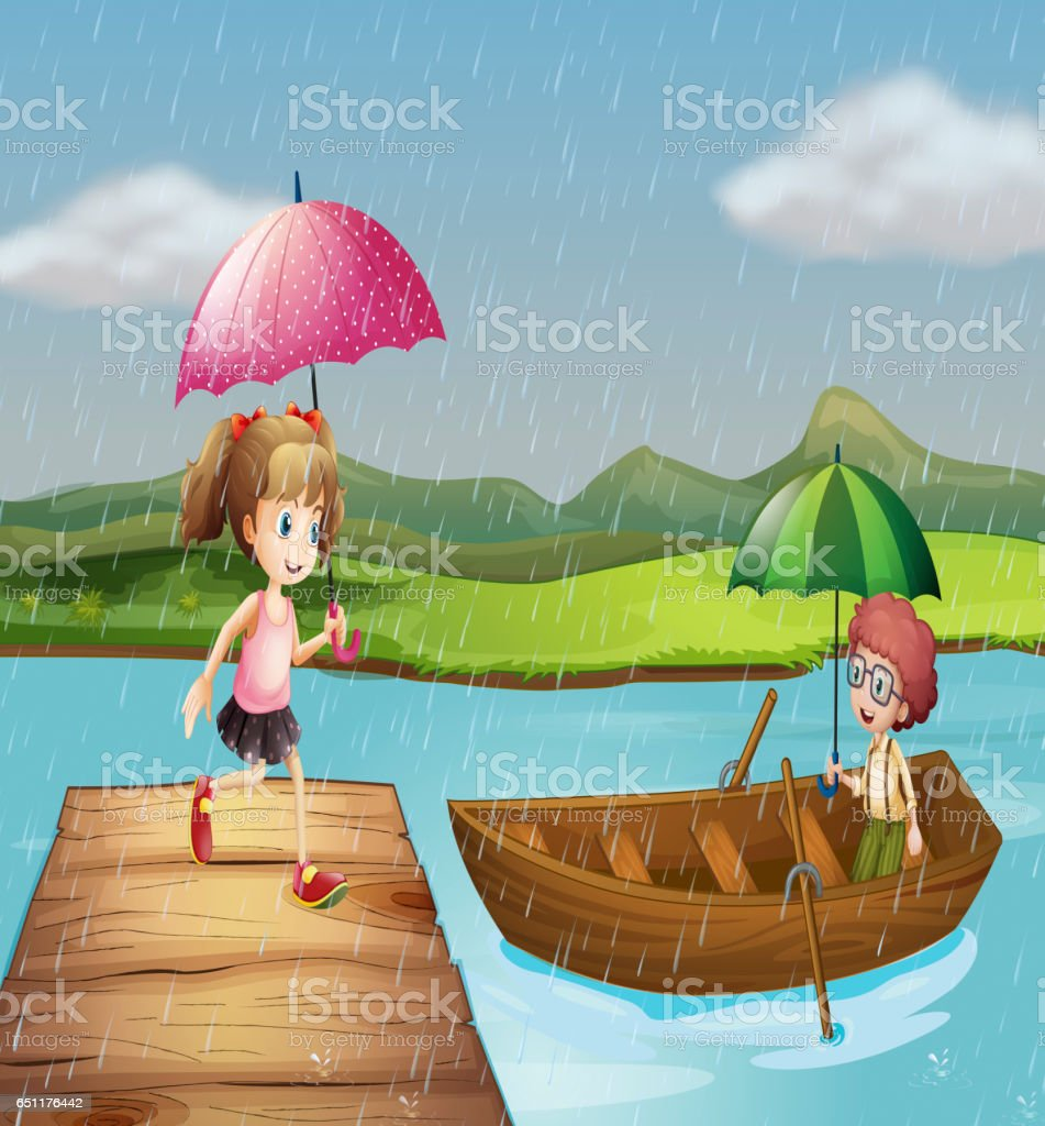 Girl and boy in the rain at the park vector art illustration
