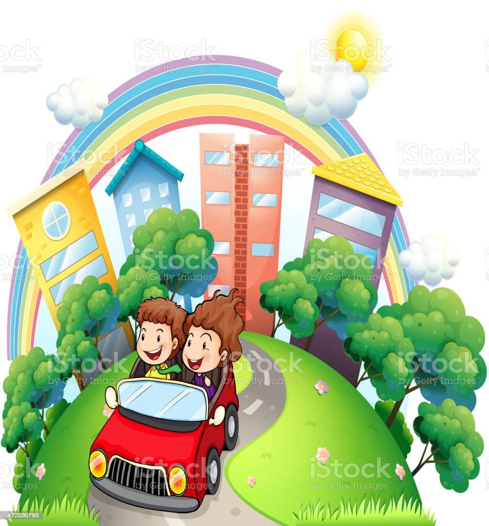 Girl and boy riding at car along the road royalty-free stock vector art