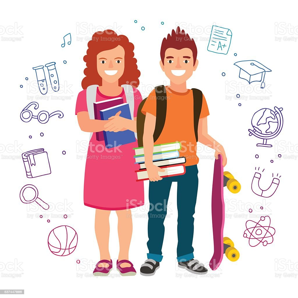 Girl and boy with books and skateboard. vector art illustration
