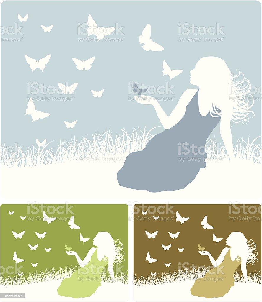 Girl and Butterflies vector art illustration