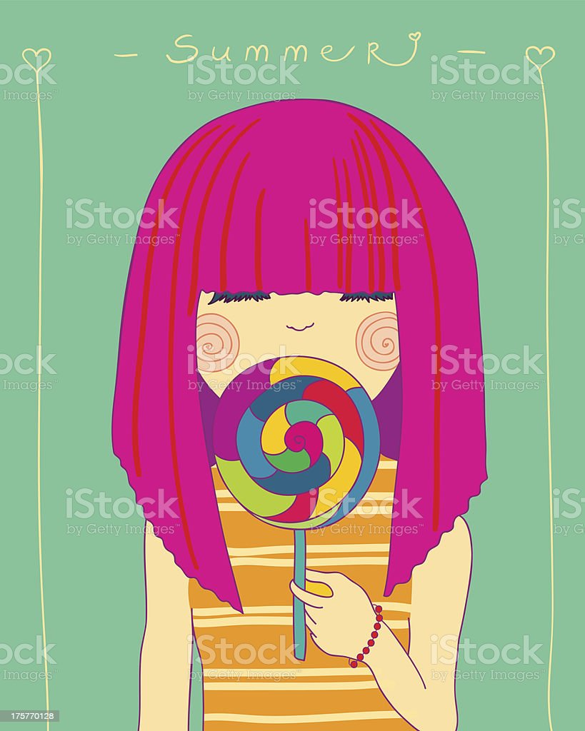 girl and candy royalty-free stock vector art