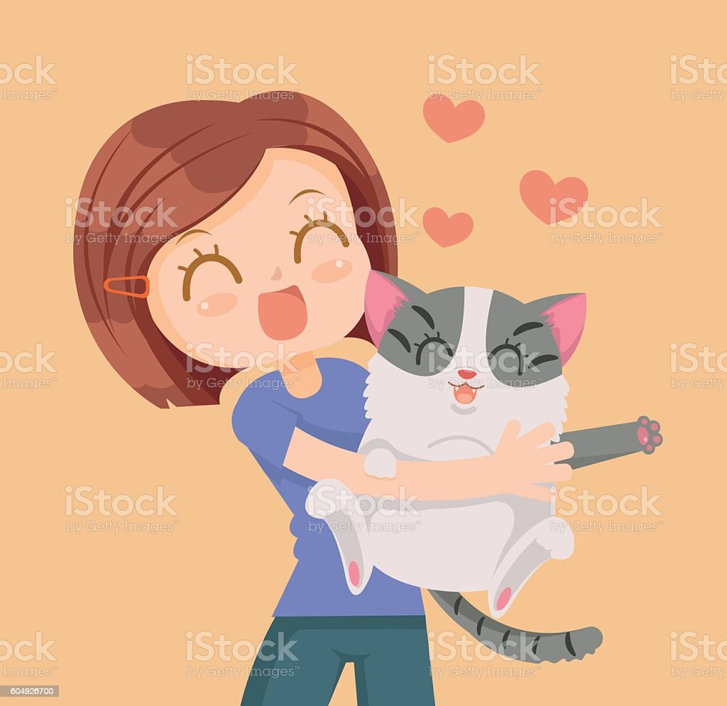Girl and cat characters hug. Best friends vector art illustration