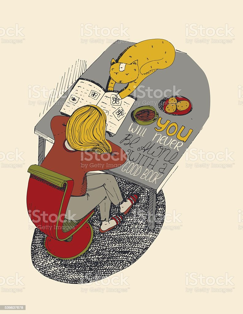 Girl and cat reading book. Vector hand drawn illustration vector art illustration