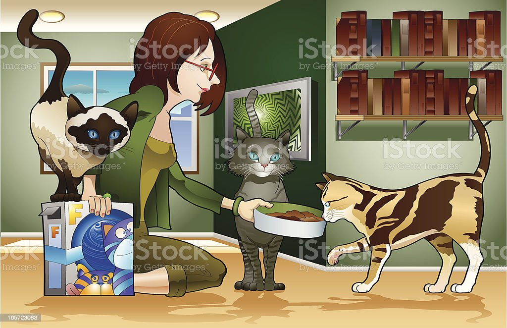 Girl and cats vector art illustration