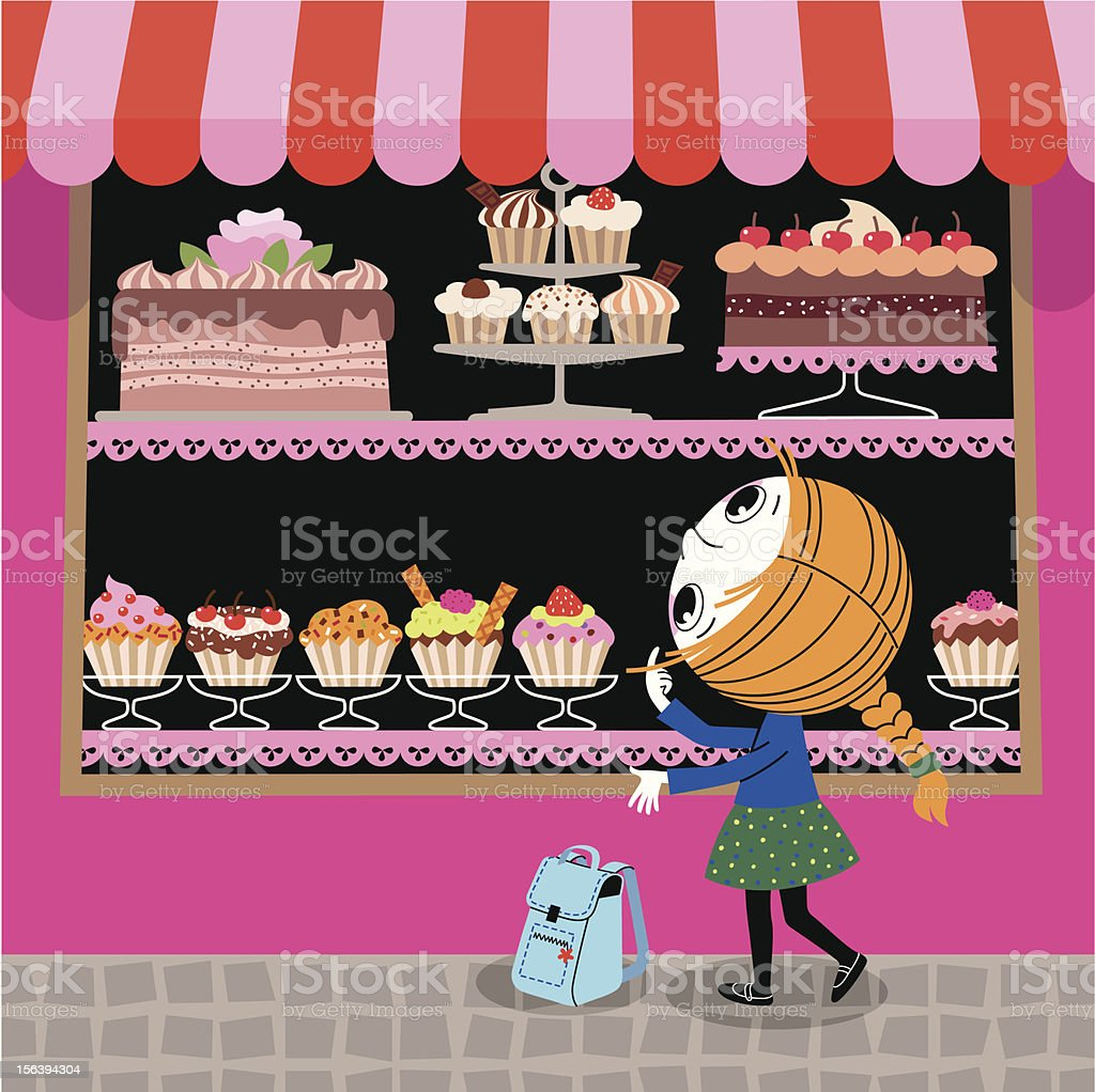 Girl and Confectionery Showcase. vector art illustration