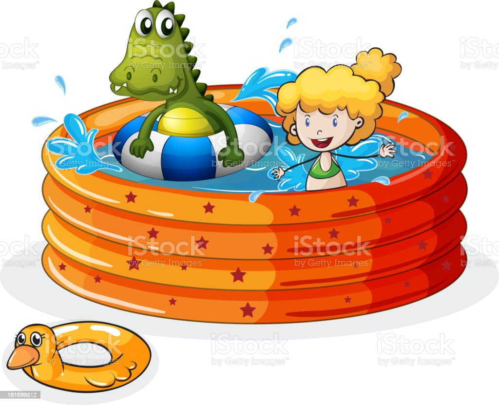 girl and crocodile swimming inside the inflatable pool vector art illustration