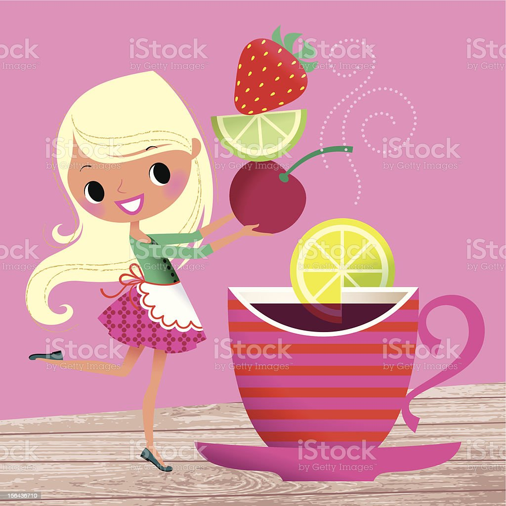 Girl and Cup of Fruit Tea. royalty-free stock vector art