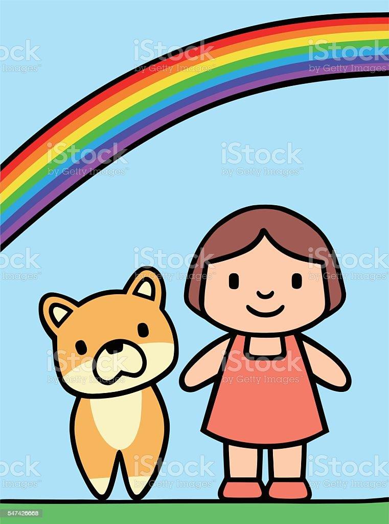 Girl and Dog vector art illustration