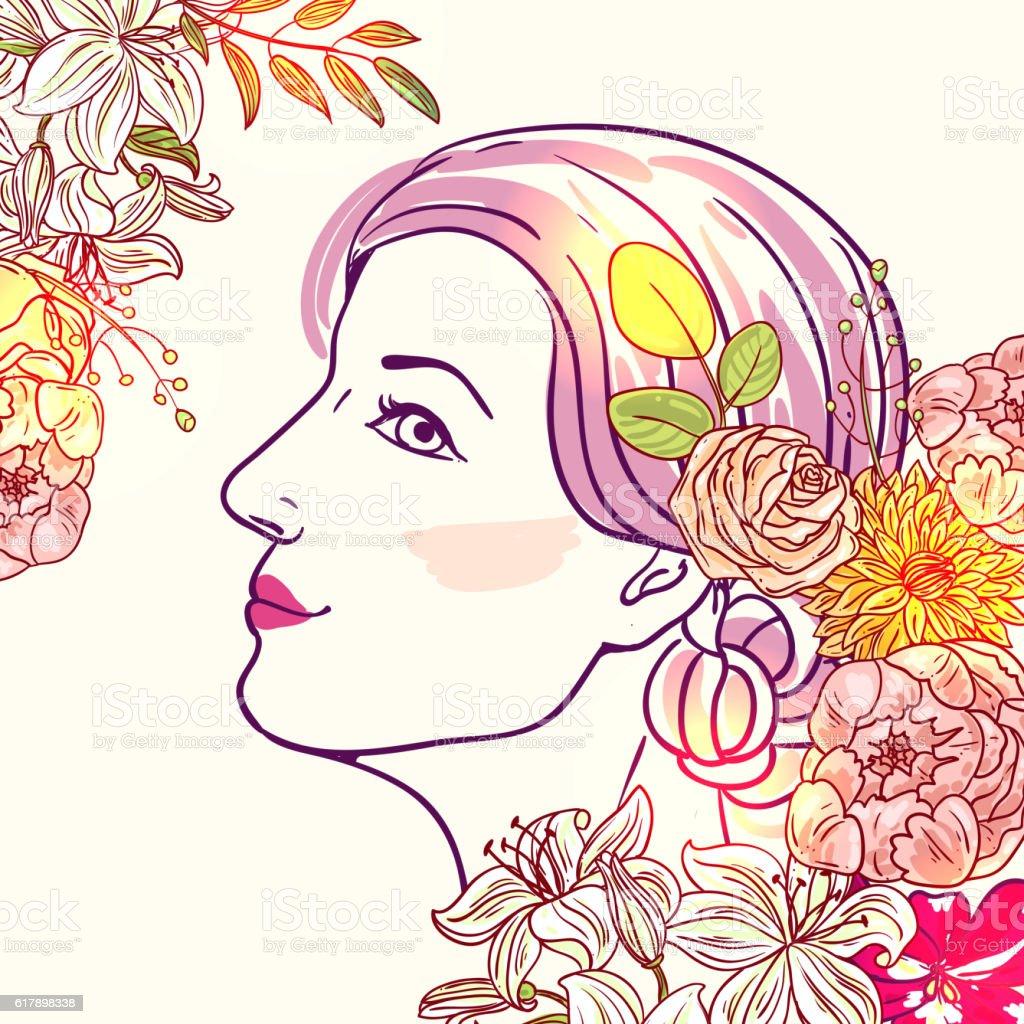 girl and flower vector art illustration