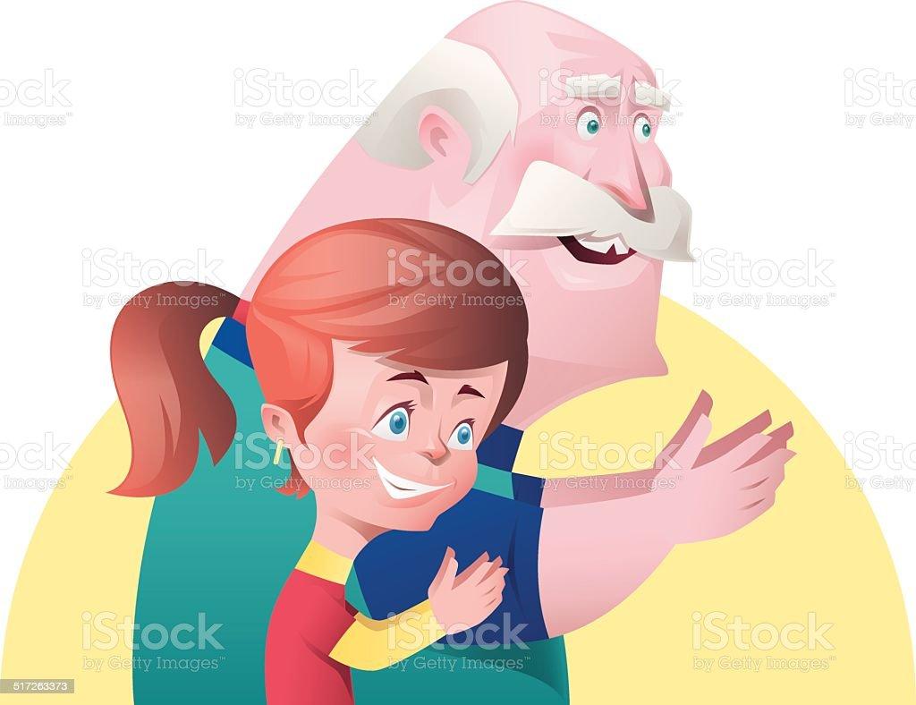 girl and grandpa applauding vector art illustration